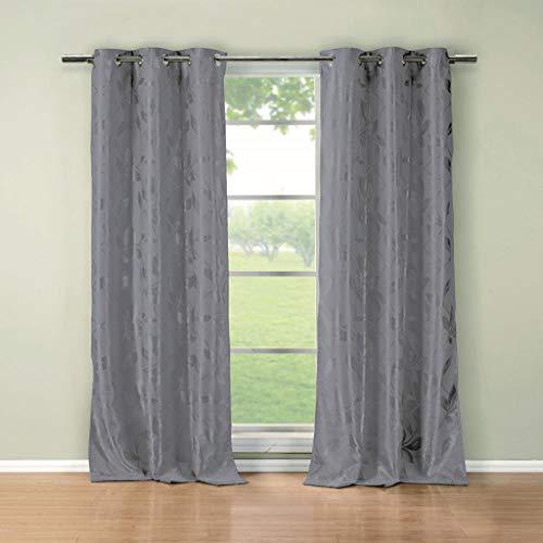 Duck River Textile Blair Floral Blackout Darkening Window Curtain Set of 2 Panels, 36 x 84, Grey