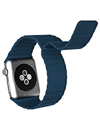 HMILY® Dark Blue-42mm Watch Band with Unique Magnet Lock Genuine Leather Loop Strap Band for Apple Watch