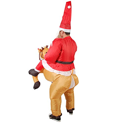 EQUICK Inflatable Costume Santa Claus Deer Riding Dress Christmas Decration Suit Funny Dinosaur Unicorn Party Cosply Adult Santa kXEirT2