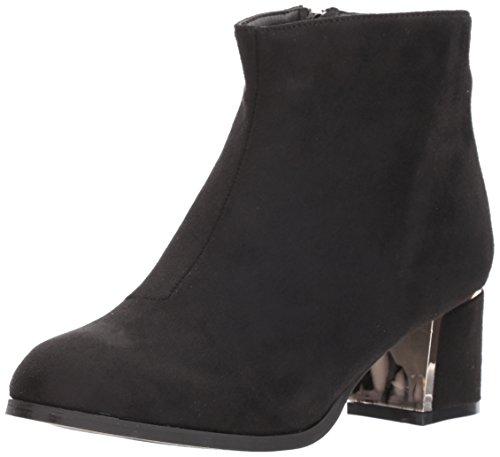 Qupid Women's Low Heeled Bootie With Heel Ornament Ankle Boot, Black Suede Polyurethane, 8 M (Black Polyurethane Ankle Boot)