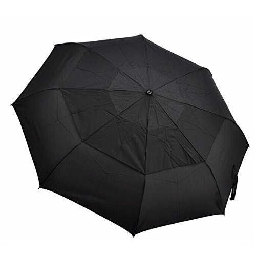 Moschino Umbrella (Men's Classic Black Automatic Folding Large Travel Umbrella with Double-canopy)