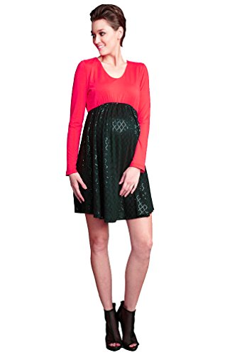 Maternal America Sequin Baby Doll Holiday Maternity Dress - Black/Red - X-Small
