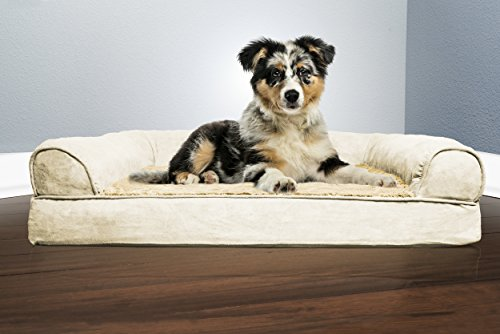 Image of FurHaven Pet Dog Bed | Orthopedic Ultra Plush Sofa-Style Couch Pet Bed for Dogs & Cats, Clay, Medium