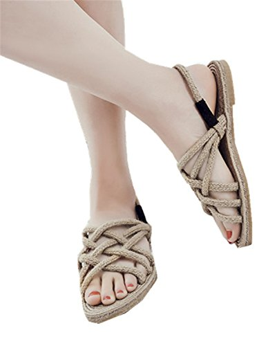 41T53gu 1VL - Renxingli Women Fashion Summer Flat Sandals Hand Woven Comfortable Slip on Strap Casual Shoes Apricot 9