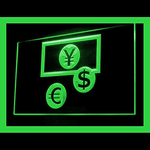 Money Exchange ATM Currency Cashier Convenient Worldwide LED Light Sign 190131 Color Green by Easesign