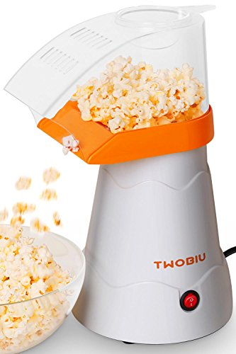 TWOBIU Popcorn Machine, Popcorn Maker, Hot Air Popcorn Popper with FDA Approved – Orange