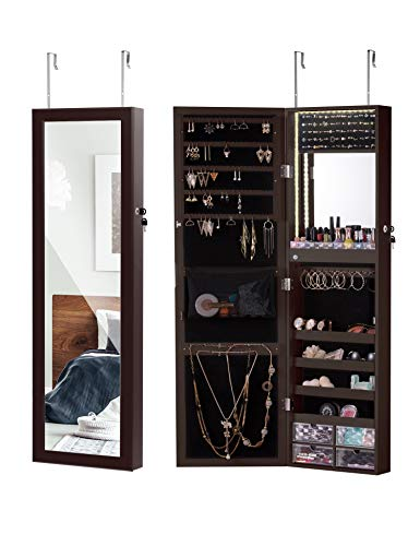 LUXFURNI LED Light Jewelry Cabinet Wall-Mount/Door-Hanging Mirror Makeup Lockable Armoire, Large Storage Organizer ()