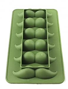 JIAO- Moustache Style Silicone 6-Lattice Ice Mold - Army Green