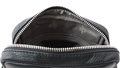 Piel suave Visconti Pebbled grano LYNX compacto Reportero bolsa de viaje KR70 Negro negro