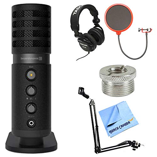 beyerdynamic Fox USB Microphone (727903) w/Headphones Bundle Includes, Tascam Closed-Back Professional Headphones, Microphone Suspension w/Boom Scissor Arm Stand, Pop Filter Wind Screen and More ()