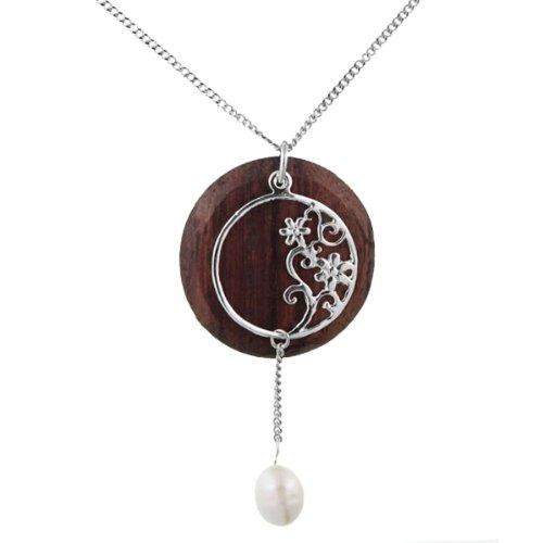 Chic-Net Brass chain 47 cm Pendant filigree flower tendril 55 mm pearl wooden disc carbine nickel free