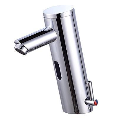 Gangang Home Deck Mount Touch Free Automatic Sensor Sink Faucet with Temperature Control Handle Chrome Single Hole Straight Spout Bar Faucet Lavatory Plumbing Fixtures Bathtub Mixer Taps