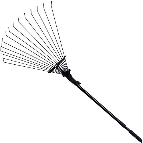Rovtop Adjustable Steel Garden Leaf Rake-63 Inch Ideal Garden Folding