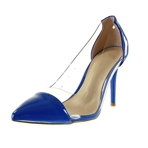 Angkorly - Chaussure Mode Escarpin stiletto sexy femme brillant transparent Talon haut aiguille 10 CM - Bleu