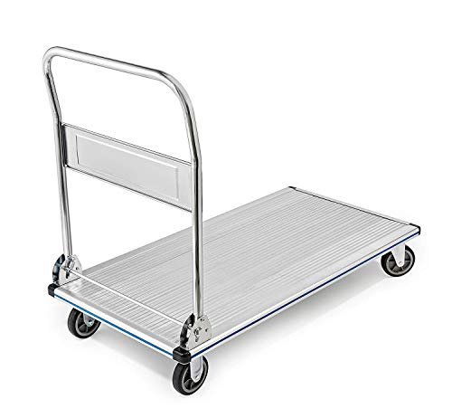 AdirOffice Folding Aluminum Platform Truck - Flatbed Cart - Single Handle - 5