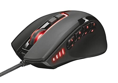 Trust GXT 164 Sikanda - Ratón Gaming con 12 Botones programables, Color Negro