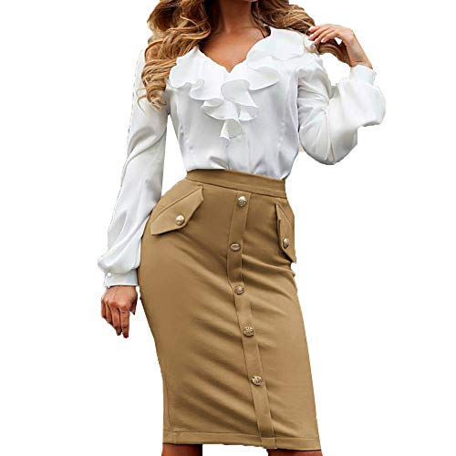 PASATO Women High Waisted Pencil Club Skirt Bodycon Button Pocket Pencil Mini Skater Skirt (Khaki,M=US:S)