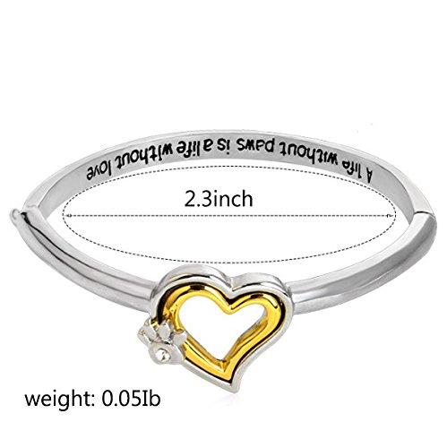Menoa Love Heart Bangle Bracelet Cuff Inspirational Gold Plated Lover Mom Gift