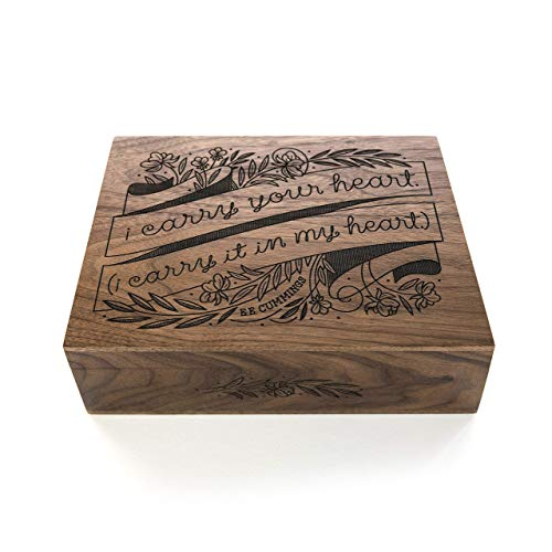 I Carry Your Heart Laser Cut Wood Keepsake Box (Wedding Gift / 5th Anniversary/Baby Shower Gift/Heirloom / Mother's Day Gift/Decorative)