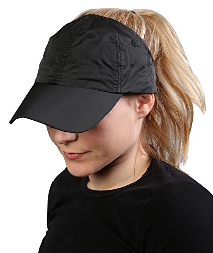 H-201-06 Athletic Pony Tail Cap - Black (Outfits For Tweens)