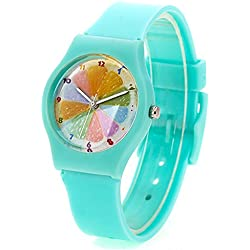 Zeiger New Cool Analog Easy Read Lovely Time Teacher Young Girls Teen Kids Wrist Watches, Rainbow Dial Silicon Band (Mint-green)
