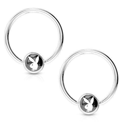 Pierce2GO 2 Pack - Black Playboy Nipple Ring, Licensed - 316L Surgical Steel, 14 Gauge - 1/2