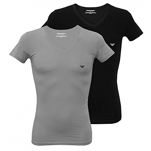 Emporio Armani 2-Pack Stretch Cotton V-Neck Men's T-Shirts, Black/Grey X-Large - Summer Armani
