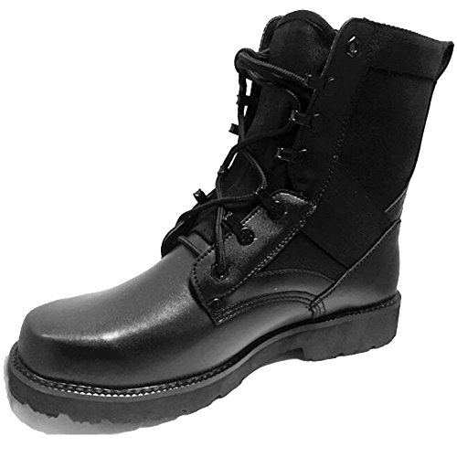 BE DREAMER Military Boots with Steel Toe Black Leather Combat Tactical Boots for Women Men QMDZkzWK