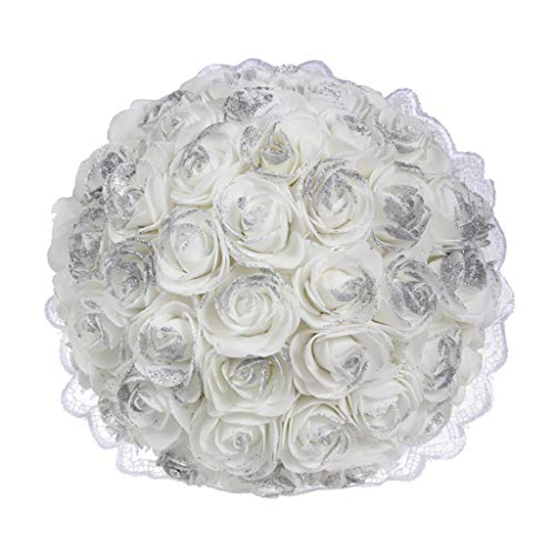 Maikouhai Artificial Flowers, Bride Bridesmaid Wedding Bouquet Bridal Silk Fake Holding Flowers Party Decor for Home Cafe Hotel Bedroom - Flannel & Plastic - 26x19cm (B)