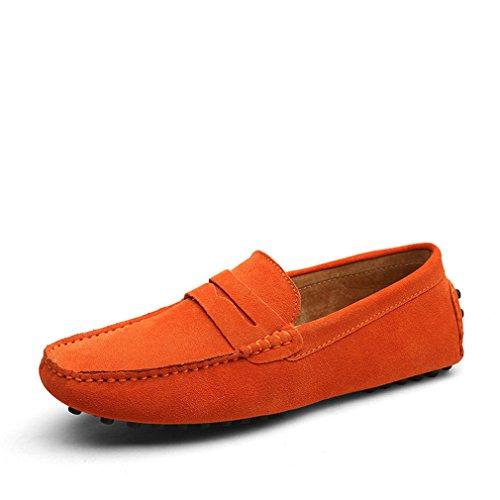 da da moda guida scarpe arancione di Mocassini Morbidi Lumino uomo stile pelle scarpe estivo vera in t0R1qOxw