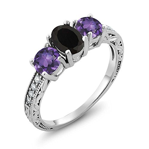 Gem Stone King 1.82 Ct Oval Black Onyx Purple Amethyst 925 Sterling Silver Ring (Size 9)