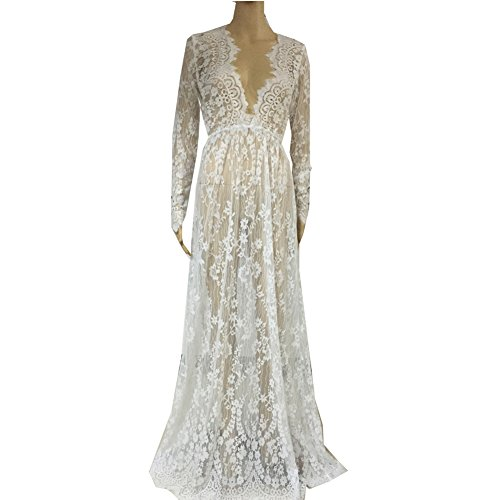 Floral Lace See-though Deep V-neck Long Sleeves Bridesmaid Maxi Dress w/ Necklace