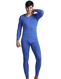 Godsen Men's 2pc Long Johns Set V-neck Thermal Underwear