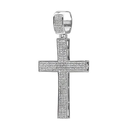 Dazzlingrock Collection 2.00 Carat (ctw) White Diamond Micro Pave Mens Hip Hop Style Religious Cross Pendant Necklace (Silver Chain Included), Sterling Silver ()