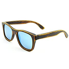SHINU Genuine Handmade Wood Sunglasses Anti-glare Polarized Bamboo Layer UV400 Glasses-Z6016(bamboo stain, ice blue) 95 Genuine Wood Bamboo from Sustainable Resources. Every production step, starting from the selection of wood through final assembly, requires careful consideration and maximum attention. Our approach translates into sourcing the finest natural materials to create the best and finest looking shades. Polarized UV400 Lenses Against Harmful UVA/UVB Rays. SHINU sunglasses made from 100% bamboo - simultaneously light weight and incredibly durable. SHINU polarized wood sunglasses have gone through multiple tests to verify not only the quality of the wooden frames, but also the lenses. We ensure the quality and durability of every pair of our wooden sunglasses.