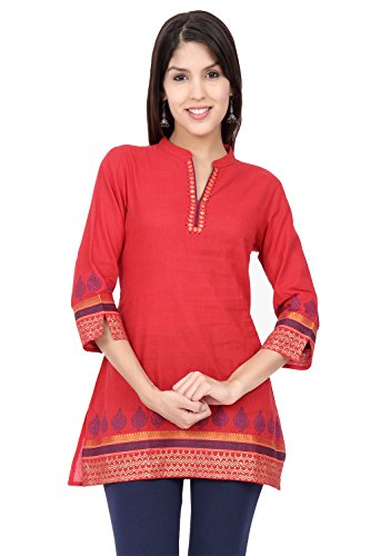Ethnicity Women's Indian Pink Kurta Tunic with Exquisite Printed Detailing; MD; Pink by In-Sattva