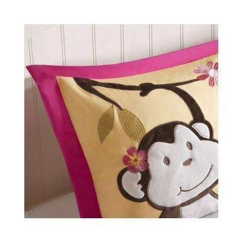 Modern Kids Girls Monkey Comforter Pink Animal Print Bedding Set with Pillows (Full/queen) Include Scented Candle Tarts by Unknown (Image #3)