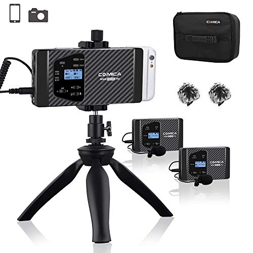 comica CVM-WS60 Combo Wireless Dual Lavalier Lapel Microphone System with UHF 12 Channels, Universal Smartphone Clamp,100-194ft Wireless Range,Wireless Microphone for Smartphones and Cameras (2Tx+1Rx) ()