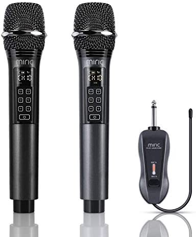 Wireless Microphone, Miric UHF Dual Metal Handheld Dynamic Microphone Set with Volume&Echo Control, Rechargeable Cordless Mic with Receiver for Karaoke, AMP, PA System, Singing, Speech, Church