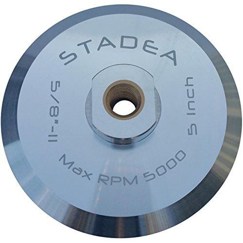 """Stadea ABP103Q 5 Inch Hook and Loop Backing Pad With Rigid Aluminium Backing, 5/8"""" 11 Brass Arbor"""