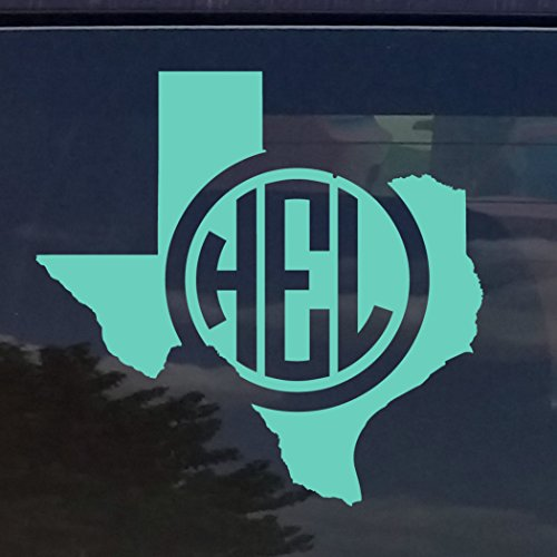 Amazon com texas custom circle monogram initials vinyl decal sticker for cars yeti cup laptop 3x3 mint teal home kitchen