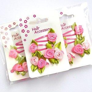 12 X Baby /Mini Sleepy Clips/ Snap Clips/ Hair Clips/ Ponios - Rosebud Flowers by Chelsea Jones ()