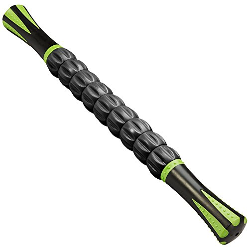 Pain Relief Stick - Reehut Trigger Point Muscle Roller Stick - 18 Inches Massager for Relief Pain, Sore, Cramping, Massage, Physical Therapy & Body Recovery (Black)