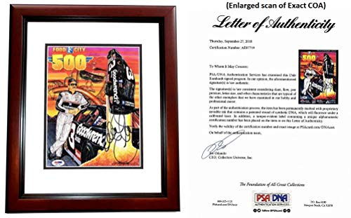 (Dale Earnhardt Sr Signed - Autographed 1997 Food City 500 Program Cover - MAHOGANY CUSTOM FRAME - The Intimidator #3 - Deceased 2001 - PSA/DNA FULL Letter of Authenticity (COA))