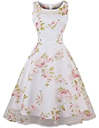 Vintage Dress Floral 1950's Retro Cap Sleeve Homecoming Party Dresses