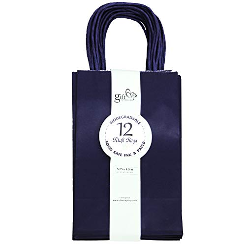 12CT SMALL NAVY BIODEGRADABLE, FOOD SAFE INK & PAPER, PREMIUM QUALITY PAPER (STURDY & THICKER), KRAFT BAG WITH COLORED STURDY HANDLE (Small, Navy)