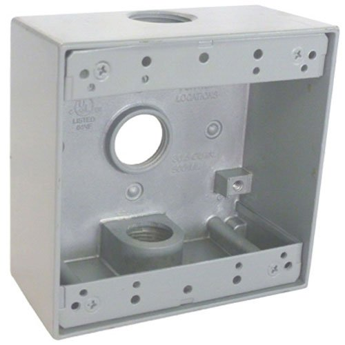 Master Electrician TGB75-3 2 Gang Outlet Box with Three 3/4-Inch IPT Thread Holes