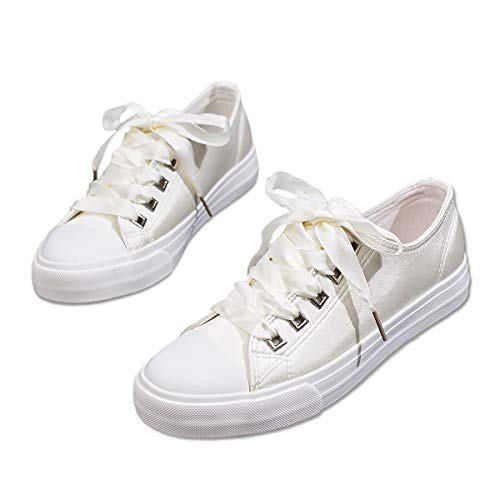 ZGR Womens Fashion Canvas Sneaker Low Cut Lace UPS Casual Shoes White3 Size US7