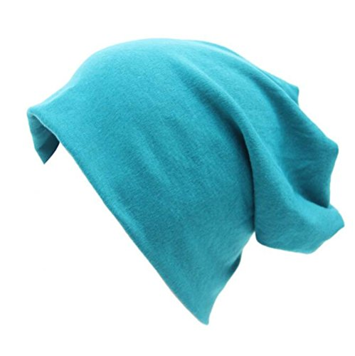 Century Star Unisex Women Thin Solid Baggy Slouchy Lightweight Oversized Cotton Sleep Beanie Hat Skull Cap Blue (Womens Beanie Solid)