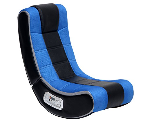 Ace Bayou X Rocker 2.1 Sound V Rocker SE Wireless Foldable Video Gaming Floor Chair with 2 Speakers and Subwoofer – Blue Black Gray, 5130001